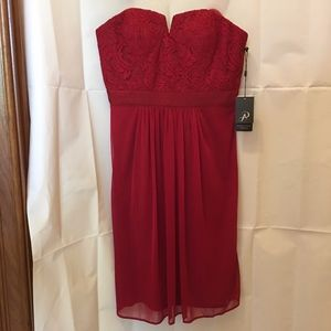 Adrianna Papell Red Strapless Dress Size 2 XS  NWT
